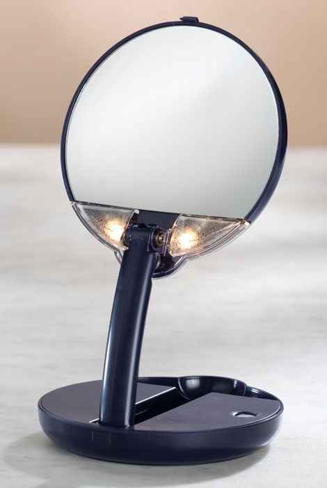 lighted travel makeup mirror 15x magnifying mirror as we change. Black Bedroom Furniture Sets. Home Design Ideas