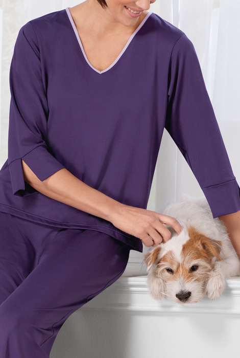 Goodnighties® Three Quarter Sleeve Top With Ionx® Technology - View 2