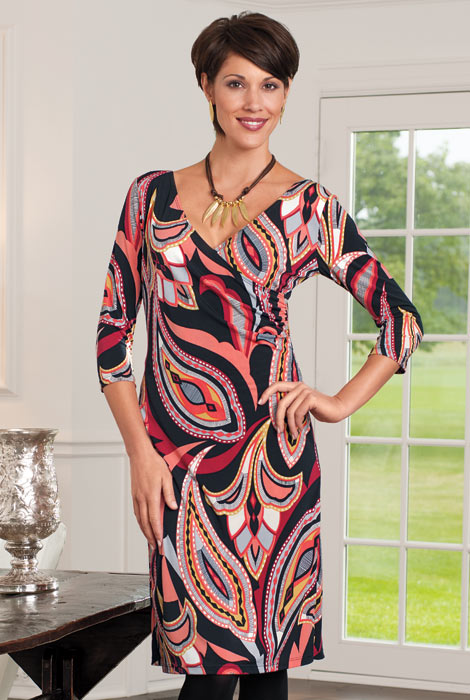 Wrap Dress with Tummy Tamer - View 4