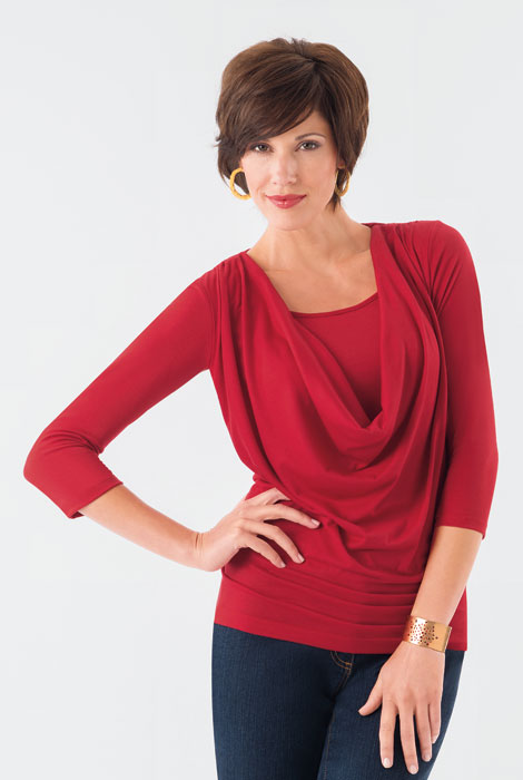 SlimU™ Slimming Cowl Neck Top - View 2