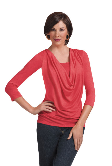 SlimU™ Slimming Cowl Neck Top - View 3