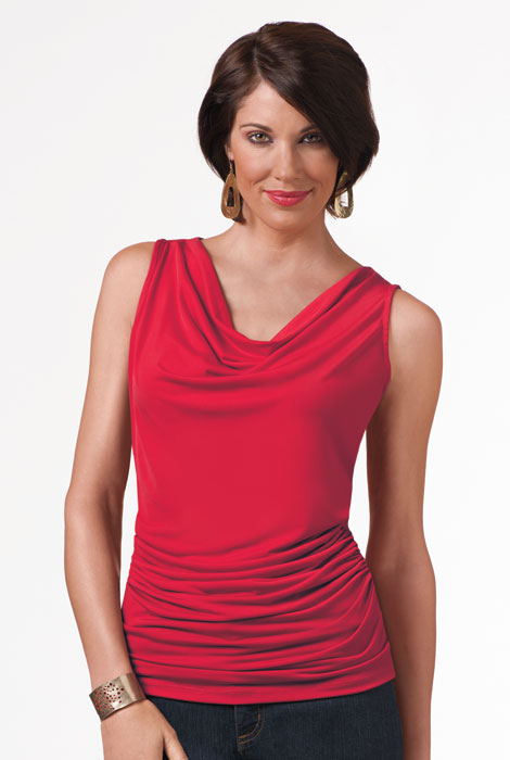 SlimU™ Drape Neck Ruched Top - View 2