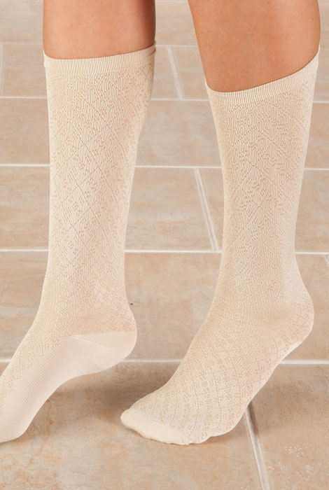 Knee High Compression Socks - Diamond Pattern - View 2