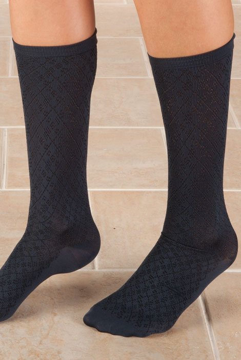 Knee High Compression Socks - Diamond Pattern - View 3