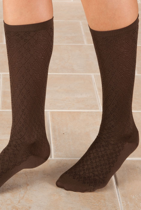 Knee High Compression Socks - Diamond Pattern - View 4