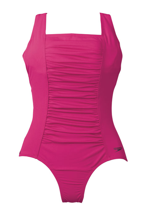Speedo® Endurance Shirred Solid Tank Suit - View 2
