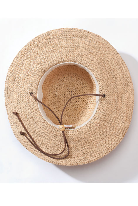 Raffia Wide Brim Hat with Leather Cord - View 2