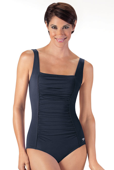Speedo® Solid Shirred Tank One Piece Suit - View 2