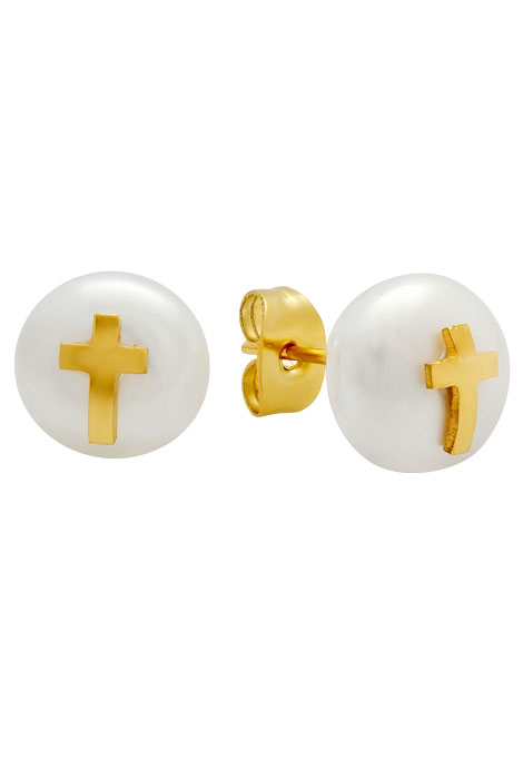 Faux Pearl Earrings with Cross - View 2