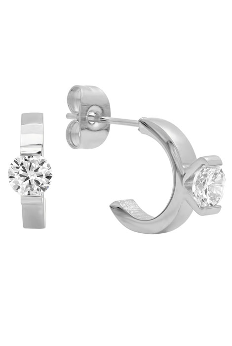 CZ Ring Stud Earrings - View 2