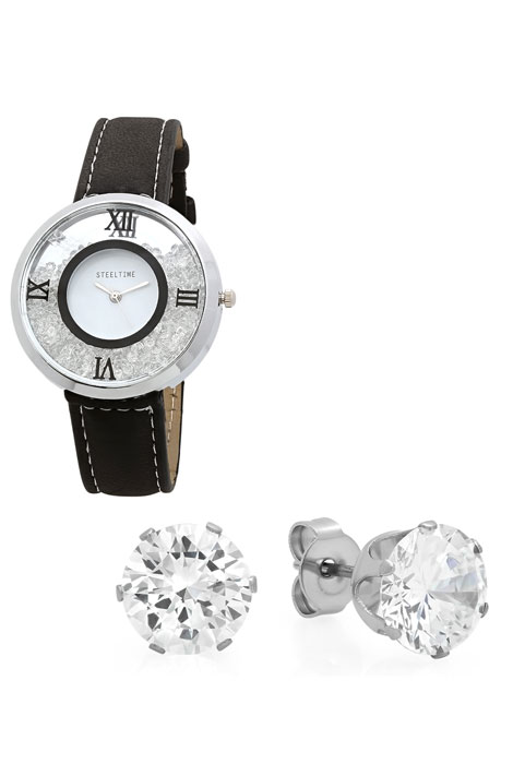 Women's Floating Crystal Watch and Earring Set - View 3