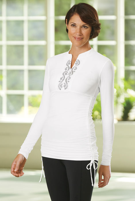 Cabana Life® Embroidered Side Rushed Rash Guard - View 3