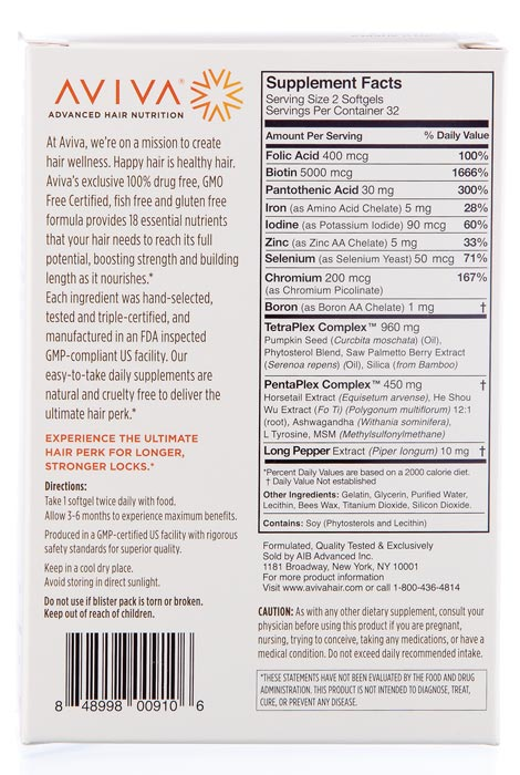 Aviva® Advanced Hair Nutrition, 30 Day - View 2