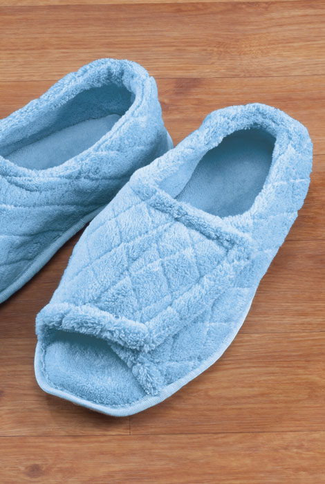 Quilted Chenille Adjustable Toe Slippers - View 2