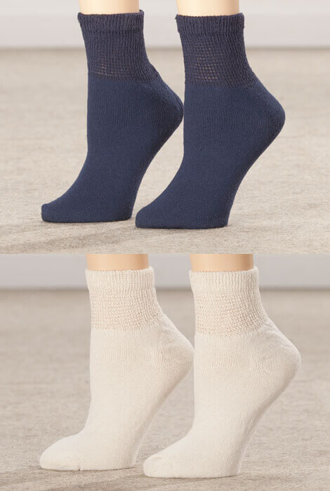 Healthy Steps™ 3 Pack Quarter Cut Extra Plush Diabetic Socks - View 3