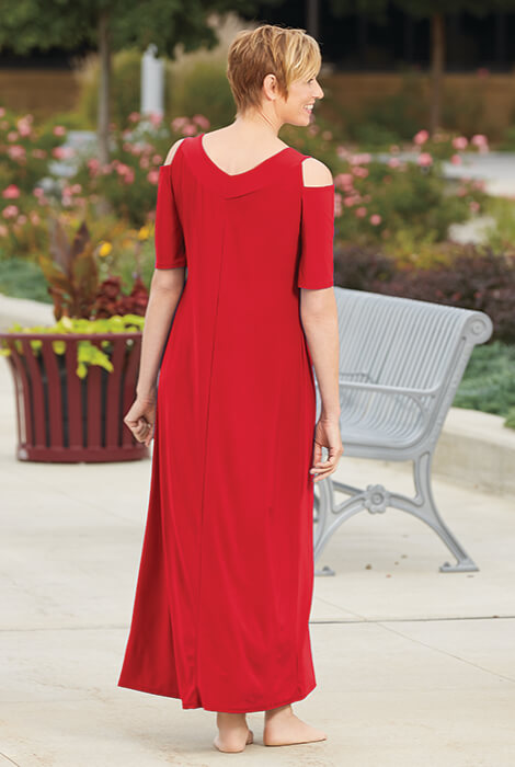 Cold Shoulder V-Neck Maxi Dress - View 3