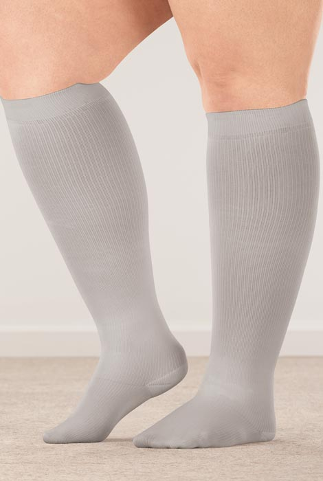 Silver Steps™ Wide Calf Compression Socks, 8–15 mmHg - View 3