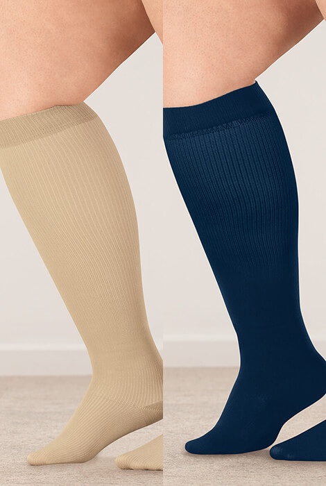 Silver Steps™ Wide Calf Compression Socks, 8–15 mmHg - View 4