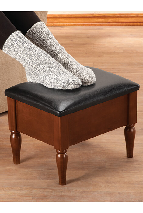 Faux Leather Wooden Foot Rest with Storage by OakRidge™ - View 2
