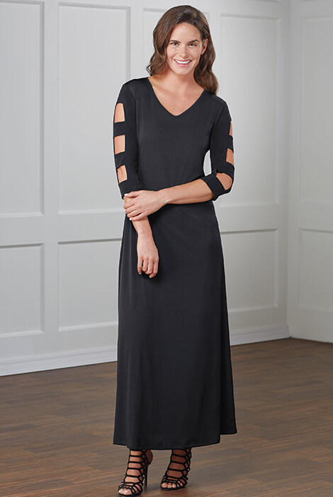 SlimU™ Lattice Sleeve Maxi Dress - View 2