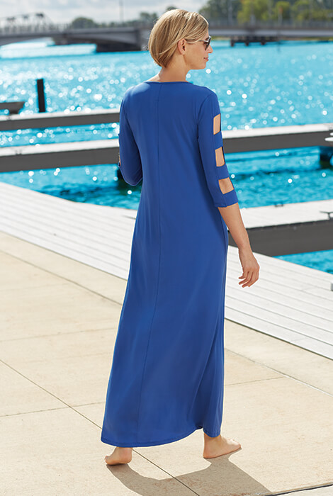SlimU™ Lattice Sleeve Maxi Dress - View 3