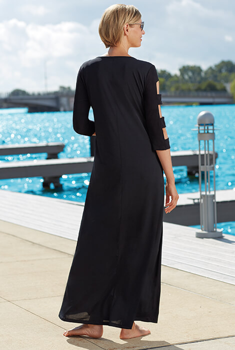 SlimU™ Lattice Sleeve Maxi Dress - View 4