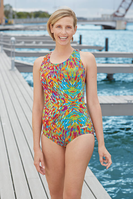 Evora print Aquashape® Conservative Lap Suit by Dolphin® - View 2