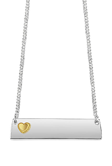 Personalized Horizontal Bar Necklace with Heart - View 2