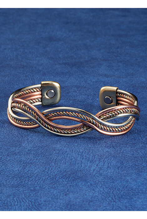 Magnetic Cuff Copper Braid Bracelet - View 3