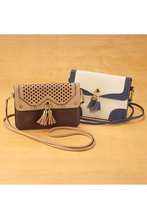 Urban Energy™ Cross Body Bag With Tassels (taupe navy) - View 4