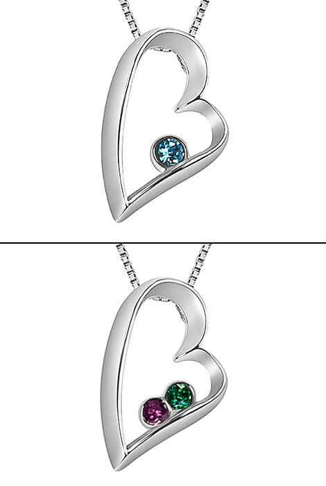 Sterling Silver Open Heart Birthstone Pendant - View 2