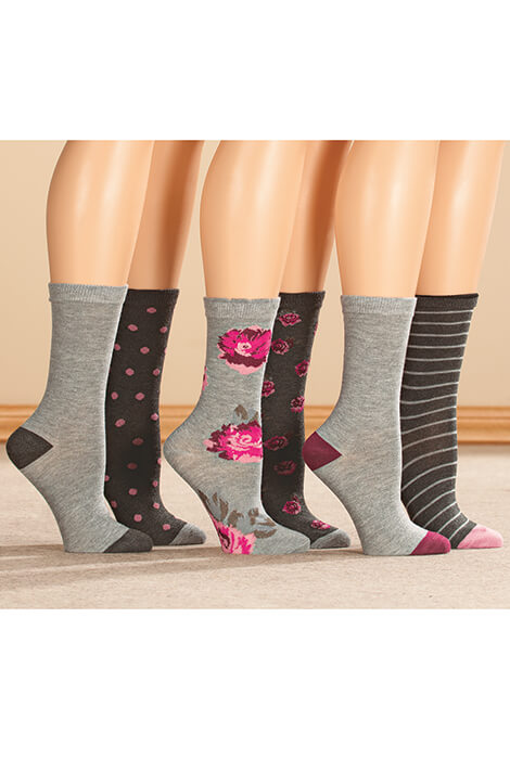 Floral Trouser Socks, Set of 6 Pairs - View 2
