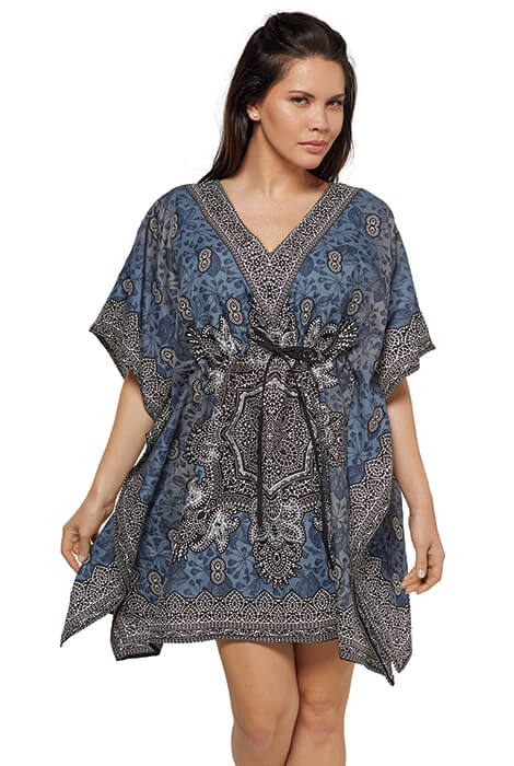 Slate & Black Short Drawstring Caftan by Sawyer Creek - View 2