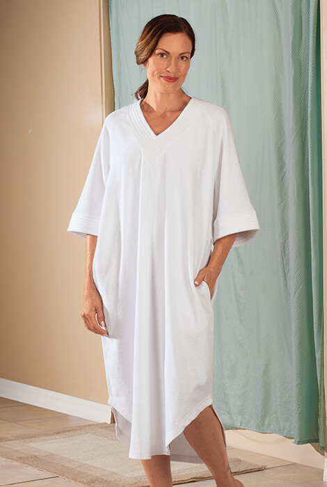 V Neck White Terry Caftan by Sawyer Creek - View 2