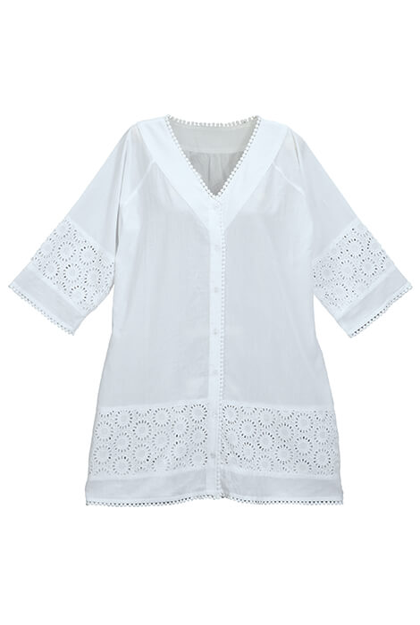White Eyelet Swim Cover-Up - View 5