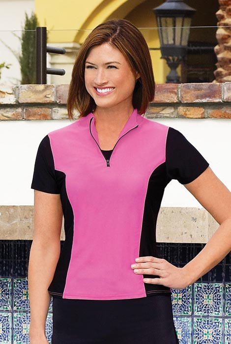 HydroChic™ Sporty Zip Swim Shirt