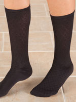 Hosiery - Knee High Compression Socks - Diamond Pattern