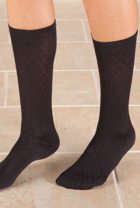 Knee High Compression Socks - Diamond Pattern