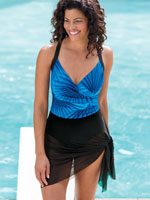 Cruise Ready Swimwear - Convertible Mesh Sarong Suit by Carol Wior