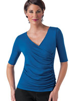 Clothing & Swim - SlimU™ Elbow Sleeve Side Ruched Wrap Top