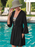 Swim Accessories - Peplum Sleeve Tunic Cover-Up