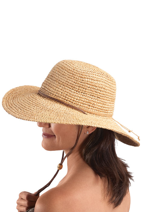 Raffia Wide Brim Leather Cord Hat