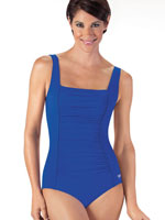 Pop of Color Swimwear - Speedo® Solid Shirred Tank One Piece Suit