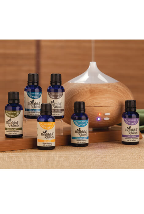 Healthful™ Naturals Starter Essential Oil Kit & 280 ml Diffuser