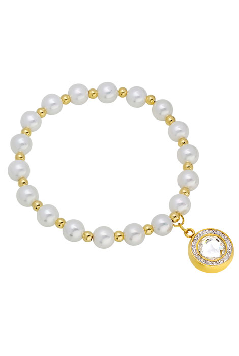 Faux Pearl Bracelet with Charm
