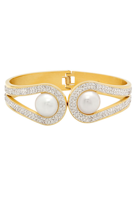 Faux Pearl and CZ Cuff Bracelet