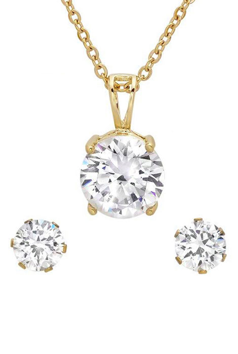 CZ Earring and Necklace Set - View 1