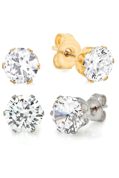CZ Stud Earrings, 2 Pair