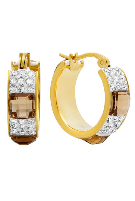 CZ and Crystal Hoop Earrings