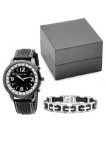 Jewelry - Men's Black and White Watch and Bracelet Set
